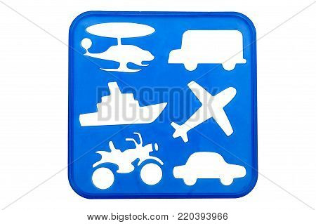 Transport stencil shapes on a blue background