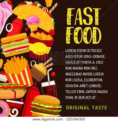 Fast food banner with lunch snack and drink. Hamburger, hot dog and cheeseburger, fries, soda and coffee, donut, chicken nuggets, sandwich, ice cream and taco for restaurant menu design