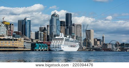 View of Seattle Waterfront with Cruise Ship at terminal taken from Elliott Bay
