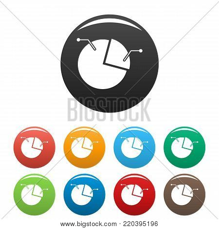 Pie chart icons set in simple style many color circle isolated on white background