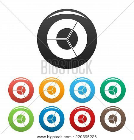 Circle diagram icons set in simple style many color circle isolated on white background