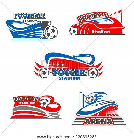 Football stadium or soccer sports arena icons. Building for sporting event and tournament icon with soccer ball and football winner trophy cup for tournament and sporting themes