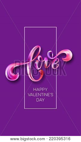 Happy Valentines Day card with Hand written Love. Vector illustration EPS10