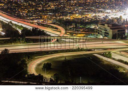 Night view of Ventura 134 freeway at the Glendale 2 freeway in Los Angeles, California.