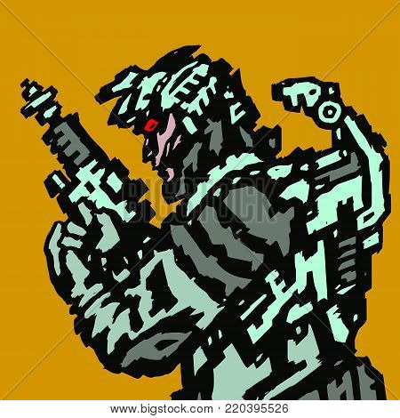 Spaceman in helmet with blaster in hands. Vector illustration. Science fiction character on orange background.