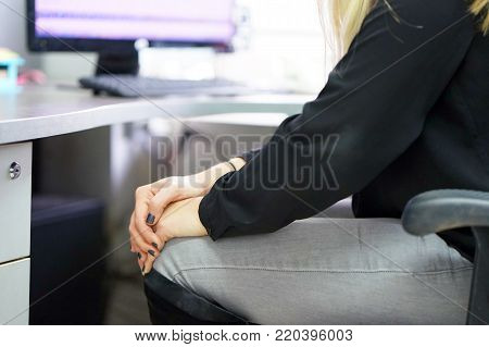 Pain In Knee. Close-up Female Leg With Painful Knees. Woman Feeling Joint Pain, Having Health Issues And Touching Leg With Hands. Body And Health Care Concept.