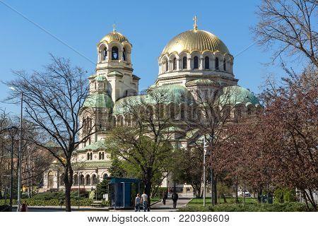 SOFIA, BULGARIA - APRIL 1, 2017: Amazing view of Cathedral Saint Alexander Nevski in Sofia, Bulgaria