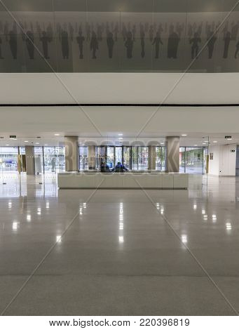 Jaen, Spain - December 29th, 2017: Iberian Art Museum Building in Jaen, Spain. Reception desk