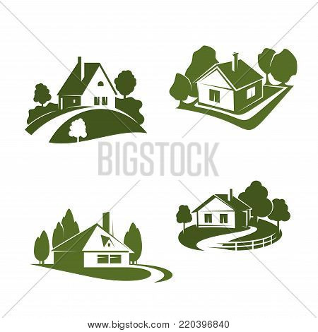 Green ecohouse icon for eco friendly real estate company emblem. Green home with tree and grass lawn, pathway and fence isolated symbol for ecology and property themes design