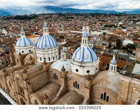 Historic New Cathedral in center of Cuenca, Ecuador was large enough to house 90% of the population of Cuenca when it was designed. The church took 90 years to complete construction, finally opening in 1975.