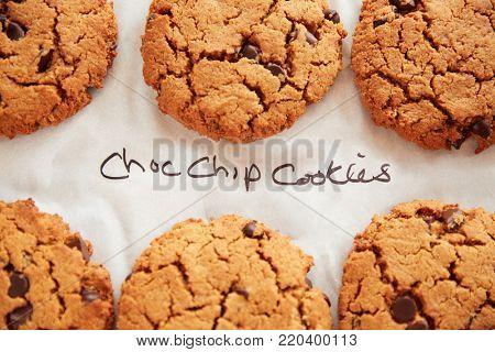 Display Of Freshly Baked Choc Chip Cookies In Coffee Shop