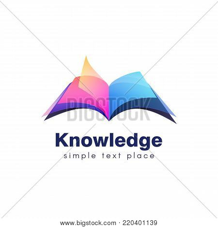 Colorful open book with softcover isolated logo. Symbol of knowledge and education vector illustration