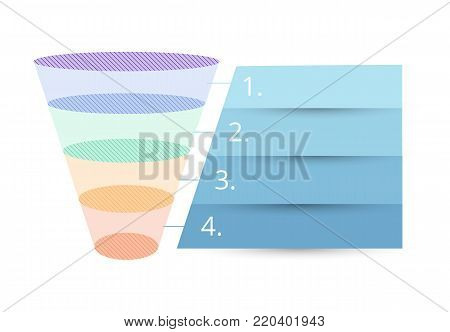Colorful Sales Funnel with stages of the sales process. Vector illustration.