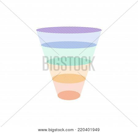 Colorful Sales Funnel with 5 stages of the sales process. Vector illustration.