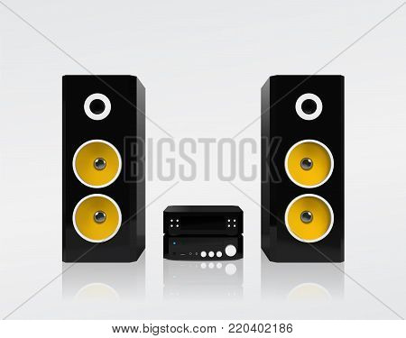 Realistic black acoustic stereo system with yellow speakers. Vector illustration