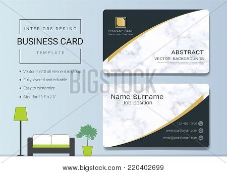 Interior business card or name card template, Simple style also modern and elegant with marbling texture imitation background, It's fully layered and editable, Easy to customize it to fit your needs.