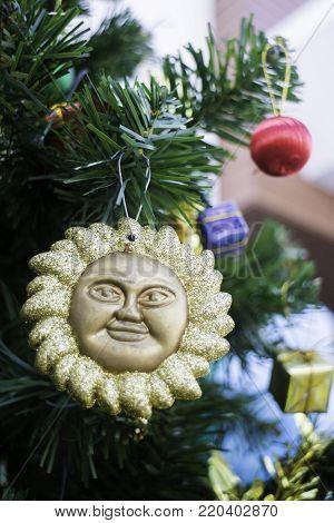 Beautiful items decorated Christmas tree, stock photo