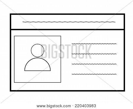 id card icon on white background. car driver, driving license. id card line symbol.