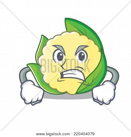 Angry cauliflower character cartoon style vector illustration