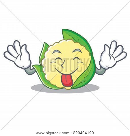 Tongue out cauliflower character cartoon style vector illustration