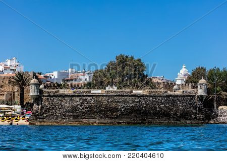 Lagos, Portugal, August 18, 2017: Fort Pau da Bandeira, built 1679-1690 to defend the harbor and the town of Lagos.
