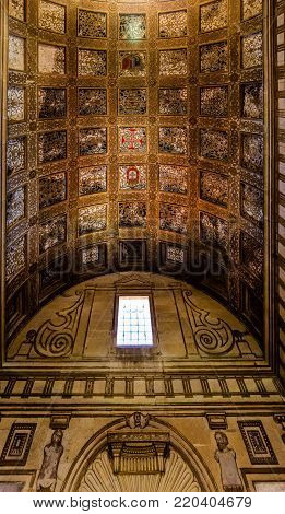 Tomar, Portugal, August 12, 2017: Ceiling in one of the rooms of the Convent of Christ in Tomar, Portugal. The convent is a historic and cultural monument and a UNESCO World Heritage site.