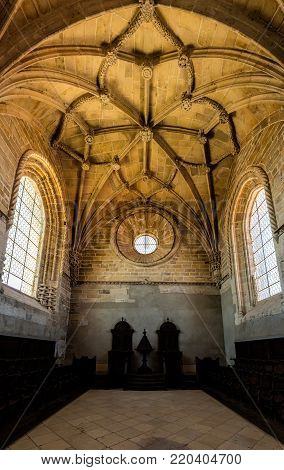 Tomar, Portugal, August 12, 2017: Interior of the Convent of Christ in Tomar, Portugal. The convent is a historic and cultural monument and a UNESCO World Heritage site.