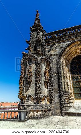 Tomar, Portugal, August 12, 2017: Fragment of the Chapter House decoration in the Convent of Christ in Tomar, Portugal. The convent is a historic and cultural monument and a UNESCO World Heritage site.