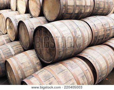 Stack of oak wood Whiskey barrels, Scotland 2017