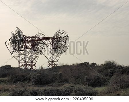 Telecommunications antenna tower with antennas, The Netherlands 2017