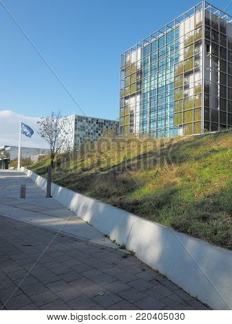 The Hague, Netherlands - November 3, 2017: The International Criminal Court entrance ramp at the new 2015 opened ICC building.