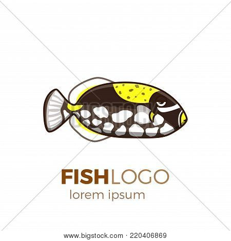 Marine life tropical colorful fish set illustration in cartoon. Aquarium draft vector design.  clown triggerfish logo