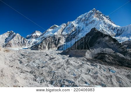 Amazing mountains on Himalayas around Nepal territory.
