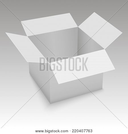 White open box on grey background.  Vector illustration.