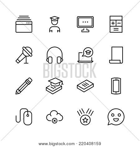 E-learning icon set. Collection of high quality black outline logo for web site design and mobile apps. Vector illustration on a white background.