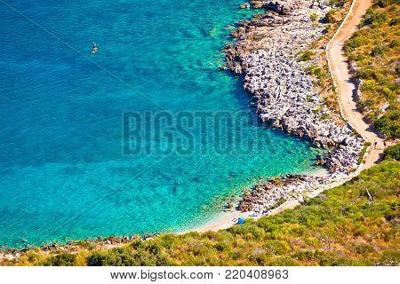 Turquoise beach in Primosten aerial view, Adriatic archipelago of Croatia