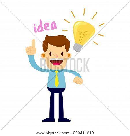 Vector stock of a businessman having a bright idea with a big light bulb