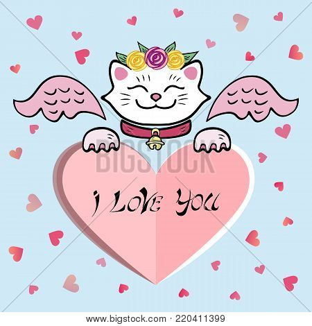 Cute I Love You Card with white Cat, pink wings, sweet heart. Template for St. Valentine's Day/invitation/party/Mother day/birthday/baby birth/greetings card. Japanese Maneki Neko white cat.