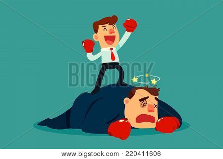 Businessman in boxing gloves won the fight against bigger businessman in suit. Business competition concept.