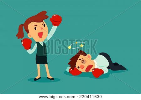 Businesswoman in boxing gloves won the fight against businessman. Business competition concept.