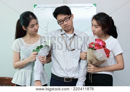 Frustrated stressed complicated relationship between three people. Love triangle concept.