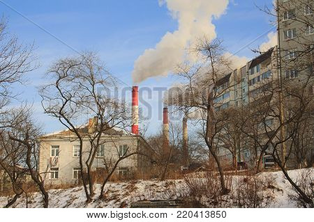 Winter industrial Landscape of Vladivostok city. Russia.