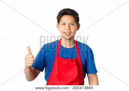 Portrait of Asian man wear red apron and show thumb up isolated on white background