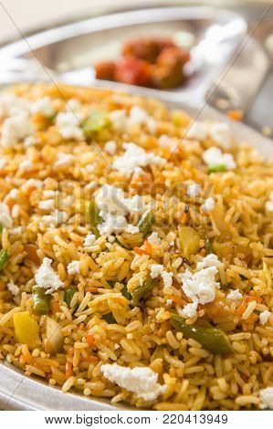 biriyani rice in street restaurant, this menu is normal dish in north india. shadow depth of field