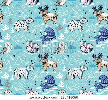 Polar animals seamless pattern in blue colors. Antarctica polar wild life decorative background. Vector illustration.