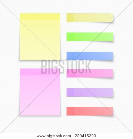 Sticky notes colored papers, office notes memo paper sheets. With shadow.