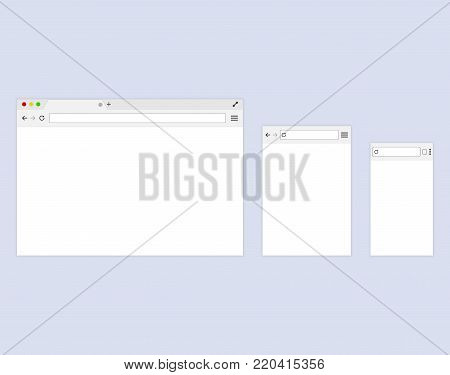 Browser or web browser in flat style. Template Browser window on your PC, tablet and mobile phone.