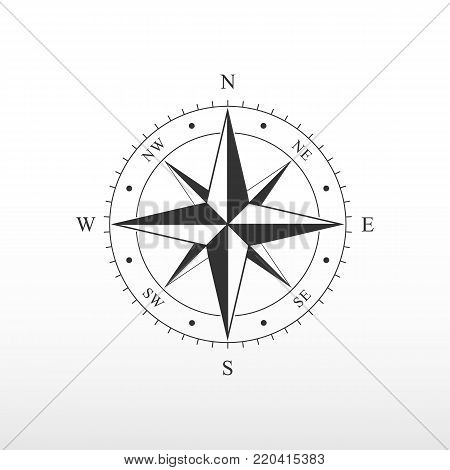 Nautical compass icon. Pictograph of compass. side of the world.