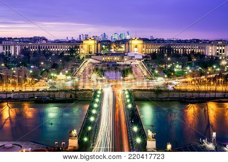 Looking across the River Seine towards the Trocadero Gardens and the business district