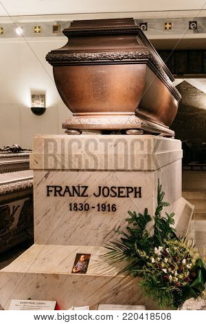 Vienna,  Austria - August 16, 2017: Franz Joseph emperor Tomb. It is in Imperial Crypt of Vienna,  located in Capuchin Church in Neuer Markt